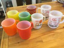 Anchor Hocking Fire King Coffee Mugs Mixed Lot Of 8 McDonald's Diamond Rainbow