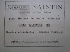 1928 PUB SAINTIN & CIE DEMARREUR SAINTIN MOTEUR AVIATION AVION BOUGIE FRENCH AD