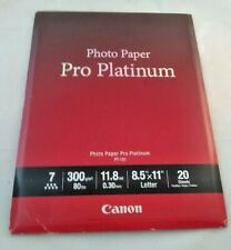 "Canon Pro Platinum High-Gloss Photo Paper (8.5x11""), 20 Sheets FREE SHIPPING"