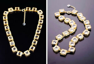 """NEW Cut Glass Elegant Crystal Statement Necklace 14K Gold Plated 22"""" BARGAIN"""
