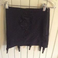 nwot Vintage 1361 Rago black open bottom girdle w/ 6 garters & zipper size xl/32