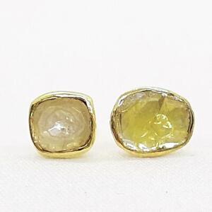 14k Yellow Gold/925 1.15ctw Genuine Fancy Canary Rose Cut Diamond Stud Earrings