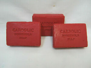 NEW RED CARBOILC HOUSEHOLD SOAP IDEAL STAIN REMOVER PK3 125G