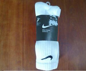 Nike Cotton Cushioned Crew Socks 3 Pack White Size Large L