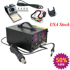 909D+ Rework Soldering Station Hot Heat Air Gun DC Power Supply 220V AC