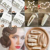 Women Rhinestone Letters Hairpin Barrettes Charm Crystal Hair Clip Bobby Pins