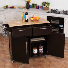 Brown Mobile Kitchen Island Serving Cart Storage Workstation Buffet Server Bar