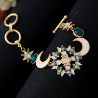 Bracelet Doré Email Bleu Vert Lune Filigrane Fin Baroque Soleil Etoile Fin CT8