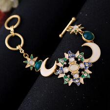 Bracelet Golden Enamel Blue Green Moon Filigree Late Baroque Sun Star End CT8