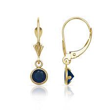 Round Blue Sapphire Bezel Set Drop Dangle Leverback Earrings 14K Yellow Gold