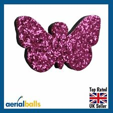 Pink Glitter Butterfly Car Aerial Antenna Ball Topper