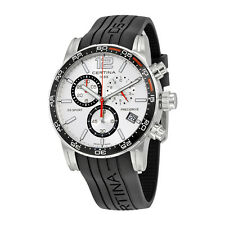 Certina DS Sport Chronograph Silver Dial Black Rubber Mens Watch