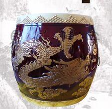 "Mongolia War Drum Basso-relievo Curled-up Dragon Cowhide Cowskin, Diam 23"" #0025"