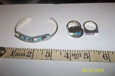 Sterling Silver Jewelry Set Yazzie Native American Navajo Lab Created Opal