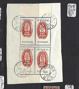 BRITISH CENTRAL AFRICA (PP1208B)  CHECK STAMP 1898 IMPER SG55B BL OF 4 SON CDS F