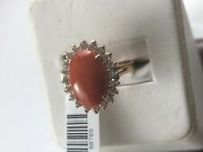 14 K Rose Gold Diamonds Coral Coctail Ring Size 7