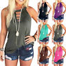 Womens Summer Hollow Crew Neck Solid T Shirt Tops Loose Sleeveless Casual Blouse