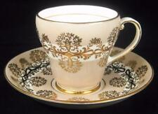 Royal Grafton Latte-Coloured & Gold Detail Demitasse Cup & Saucer (4 Available)
