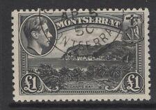 MONTSERRAT SG112 1948 £1 BLACK FINE USED