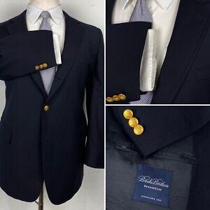 Brooks Brothers Navy Blue Blazer 3/2 Roll Golden Metal BB Button Sport Coat 48R