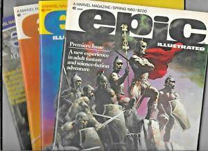 Epic Illustrated Magazine 1980 Full Year #1 2 3 4 Marvel  FN/VF Heavy Metal Art