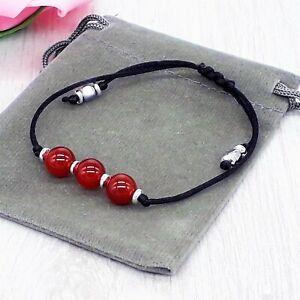 Adjustable Handmade Natural Red Carnelian Gemstone Cord Bracelet & Velvet Pouch.