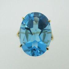 10k Yellow Gold Blue Topaz Fashion Ring Size 9 3/4