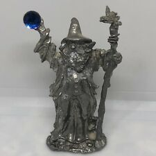 Pewter Jeweled Figure Fantasy Wizard Castle Crystal Ball And Staff