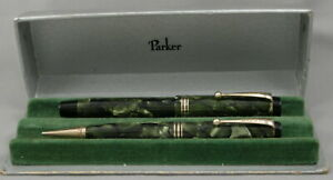 Parker Duofold Moderne Marble Sea Green Fountain Pen & Pencil Set In Box - 1932
