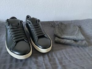 Tom Ford Leather 10UK-11 US Russel Green Low-Top Sneakers
