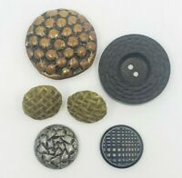 Vintage Textured buttons various sizes, shapes and materials plastic metal