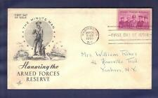 "1955 Honoring USA ARMED FORCES RESERVES1067 FDC ""The Minute Man"""