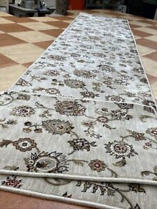Carpet Runner 345cmX75cm Floral Bleach Cleanable Very Long Hall Rug Plus Mat