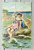 Vintage German Bathing Beauties Women Embossed Postcard Post Card