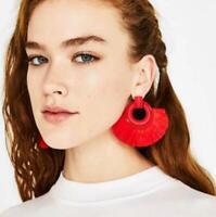 Women Bohemian Earrings Long Tassel Fringe Boho Dangle Stud Earring Jewelry