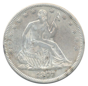1877 Seated Half Dollar Choice Almost Uncirculated AU+ Condition Silver Coin