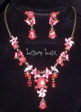 Parure : Collier + Boucles d' Oreille Papillons ROSE