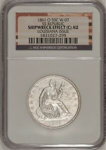 1861-O Seated Liberty Half Dollar W-07 NGC Shipwreck! SS Republic