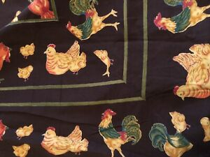 "April Cornell Tablecloth Brown w/ Colorful Chickens 70"" x 104"" Rectangle Cotton"