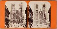 Cattedrale Sainte Gudule Bruxelles Belgium Foto Stereo PL55L Vintage Albumina