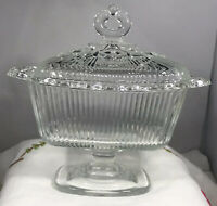 Vintage Indiana Clear Glass Compote Candy Nut Dish Ribbed Open Lace Pedestal