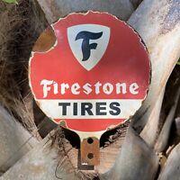 VINTAGE FIRESTONE TIRES PORCELAIN METAL SIGN GAS STATION LUBESTER LUBE PUMP OIL