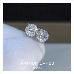 Earrings Stud Round 4 Ct Moissanite White Solitaire Screw Anniversary Gemstone
