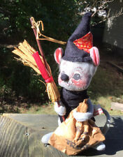 """1977 7"""" Annalee Witch Mouse Doll with Trick or Treat Bag & Broomstick Halloween"""