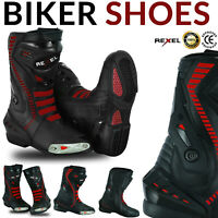 Mens Motorbike Motorcycle CE Armour Leather Racing Boots Sports Shoes Waterproof
