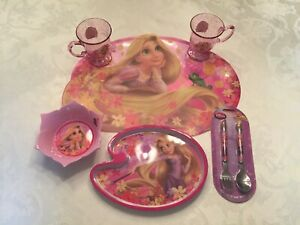 DISNEY Store RAPUNZEL Tangled DISH SET Plate SILVERWARE Cups BOWL Placemat NEW!