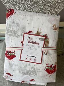 Pottery Barn Kids Full Holiday Heritage Santa Organic COTTON Sheet Set Christmas