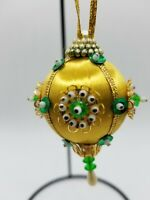 Vintage Jeweled Beaded Green Gold Red Christmas Ornament Handmade 50