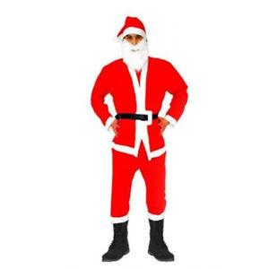 5pcs Costume de Père Noël Déguisement Papa Noel Santa Klaus XL