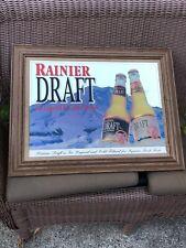 "Vintage Rainier Draft Beer Mirror Sign 27""×21"""